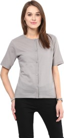 The Office Walk Women's Solid Formal Grey Shirt