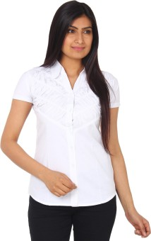 Gudluk White Women's Solid Casual Shirt