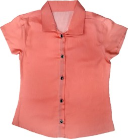 DESIRE YELLOW Girl's Solid Casual Pink Shirt