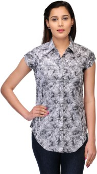 Fashion Cult White Women's Printed Casual Shirt