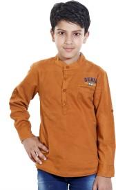 HUSHBHI Boy's Self Design Formal Multicolor Shirt