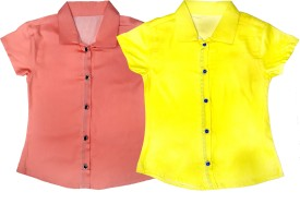 DESIRE YELLOW Girl's Solid Casual Pink, Yellow Shirt