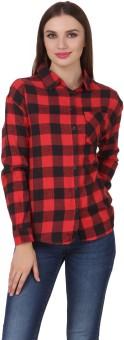 One Femme Women's Checkered Formal Red Shirt