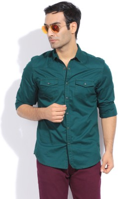 Bossini Bossini Men's Solid Casual Shirt (Green)