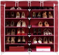 Pindia Fancy 6 Layer Double Maroon Shoe Rack Organizer Polyester Standard Shoe Rack (Maroon, 6 Shelves)
