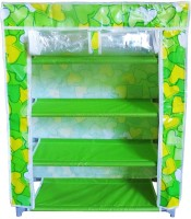 Pindia Polyester Standard Shoe Rack (Green, White, 4 Shelves)