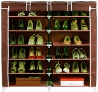 Pindia Fancy 6 Layer Double Brown Shoe Rack Organizer Polyester Shoe Cabinet (Brown, 6 Shelves)