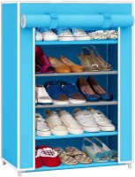 Pindia Fancy Layer Sky Blue Shoe Rack Organizer Polyester Standard Shoe Rack (Blue, 5 Shelves)
