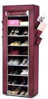 Pindia Aluminium, Polyester Standard Shoe Rack (Maroon, 9 Shelves)