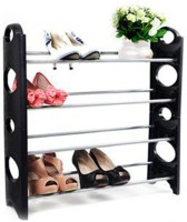 EI 12 Pair Plastic Standard Shoe Rack (Black, 4 Shelves)