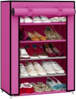 Pindia Fancy Layer Pink Shoe Rack Organizer Polyester Standard Shoe Rack (Pink, 5 Shelves)