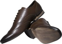 Zovi Formal Brown Shoes With Cut-work Detailing Lace Up