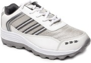 Comzo Sports Energetic White and Grey Running Shoes