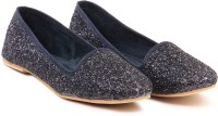 Ten TEN Amazing Blackish Blue Ballerinas Closed Toe Belly