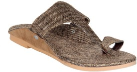 Panahi Brown Jute Rubber Slip On Kolhapuris Casuals, Party Wear