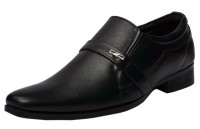Molessi Black Genuine Leather Formal Slip On Shoes