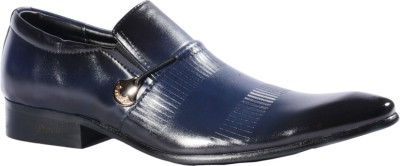 Pinellii Capricorn Blue Italian Hand Crafted Slip On Shoes
