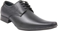 CheX Black Leather Pointed Derby Lace Up Shoes