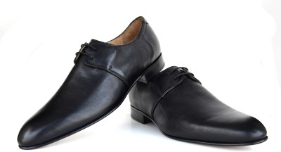 Language Derby Black Leather Lace Up Shoes