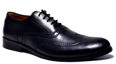 Buy Black Shiny Patent Leather Look Pointed Toe Brogue Lace Up