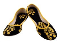 Mochadi Ethnic Party Wear Black Boutique With Floral Yellow Embroidery. Mojaris Black, Yellow