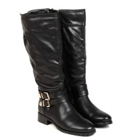 TEN TEN Women's Black Knee Length Boots Boots - SHOECK2FZUSCWFFZ