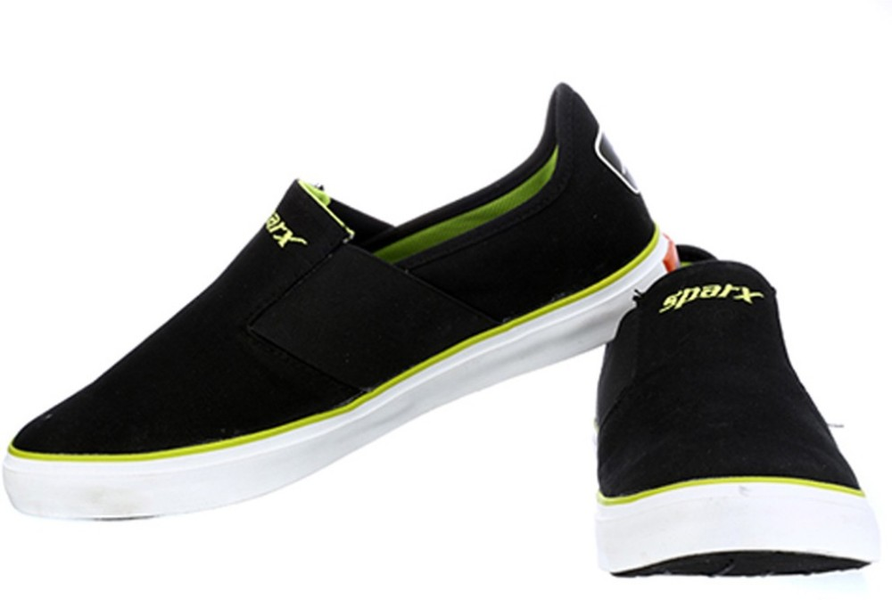 Sparx Stylish Black Green Canvas Shoes Black