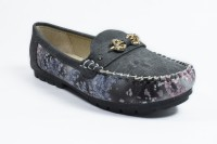 Phedarus Printed Fabric Loafers With Crystal Brooch Loafers