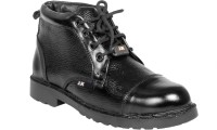 JK PORT Black Faux Leather Steel Toe Safety Shoe Boots Black