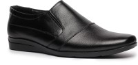 Feather Leather Genuine Leather Black Formal Shoes 031 Slip On Shoes Black