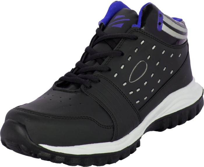 Zovi Black High Ankle Sports With Striped Heel Running Shoes