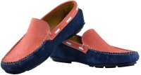 Alpha Man Atomic Tangrine With Ritzy Blue Genuine Leather Loafers