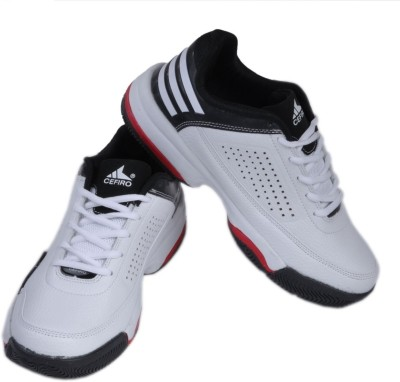 Cefiro White and Black with Red Shade Sneakers