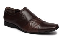 Feather Leather 029 Slip On Shoes Brown