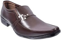 Aartisto Brown Leather Formal Shoes Men Slip On