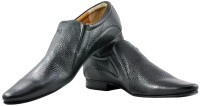 Alpha Man Dotted Black Slip On Shoes