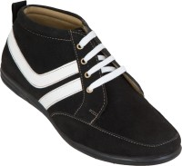 Zovi Black With White Stripes Casual Shoes