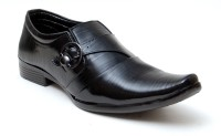 Oora Black With Fine Lining Design & Buckle Slip On Shoes