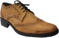 Authority Tan Puckered Lace Up Shoes