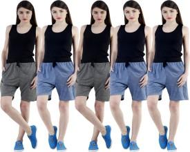 Dee Mannequin Self Design Women's Dark Blue, Dark Blue, Dark Blue, Grey, Grey Sports Shorts