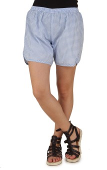 Mind The Gap Checkered Women's Light Blue Boxer Shorts