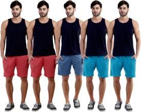 Dee Mannequin Self Design Men's Red, Red, Dark Blue, Blue, Blue Sports Shorts