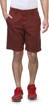 Wear Your Mind Solid Men's Maroon Basic Shorts