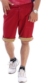 The Way Vogue Solid Men's Red Basic Shorts