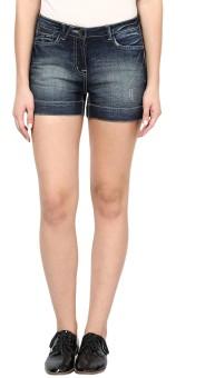 Species Solid Women's Denim Dark Blue Denim Shorts