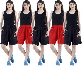 Dee Mannequin Self Design Women's Red, Red, Black, Black, Black Sports Shorts