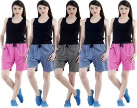 Dee Mannequin Self Design Women's Dark Blue, Dark Blue, Grey, Pink, Pink Sports Shorts