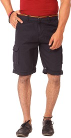 Etc Casuals Dark Blue Solid Men's Cargo Shorts