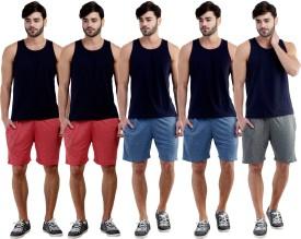 Dee Mannequin Self Design Men's Red, Red, Dark Blue, Dark Blue, Grey Sports Shorts