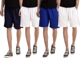 Dee Mannequin Solid Men's White, White, Dark Blue, Blue Basic Shorts